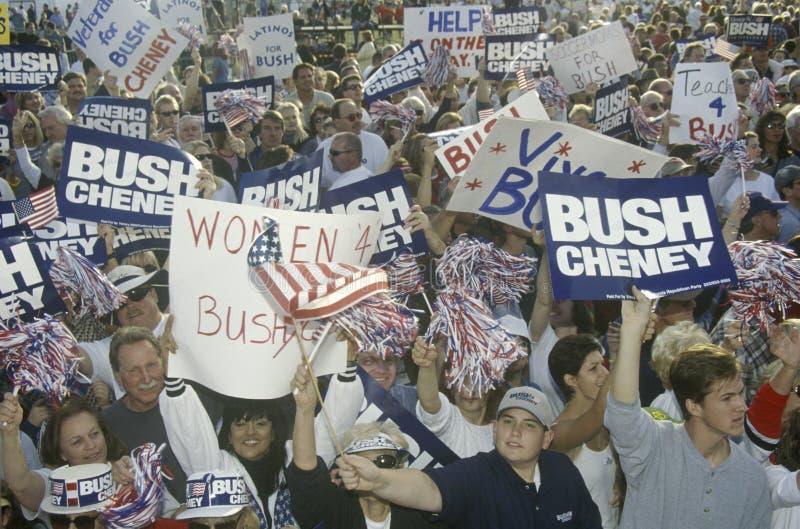 布什/切尼竞选集会在Costa Mesa,加州 免版税库存照片