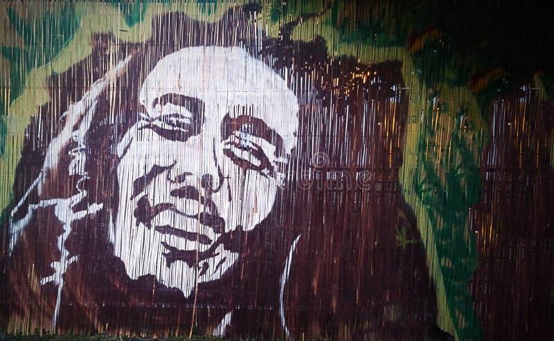 巴布・马利,一位著名牙买加雷鬼摇摆乐歌手街道画画象  免版税图库摄影
