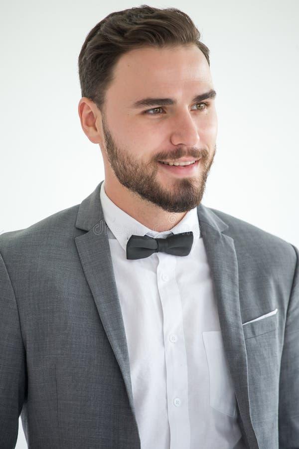 帅哥画象灰色衣服的与蝶形领结 免版税库存图片