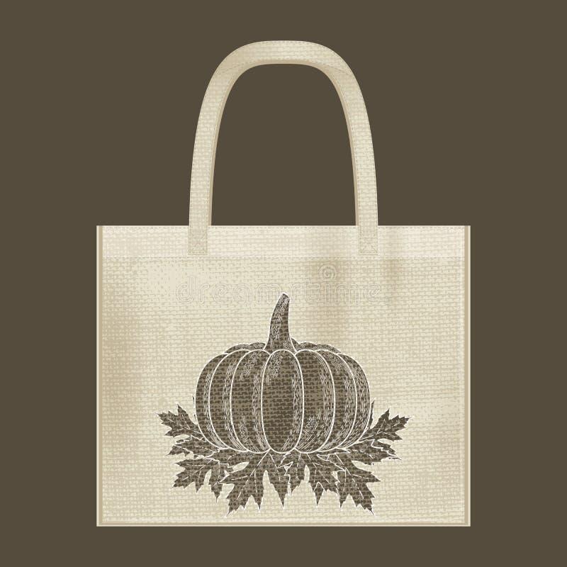帆布棉纺织品eco袋子 E 自然颜色 难看的东西粗麻布纹理 库存例证