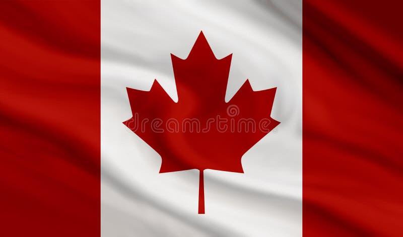 帆布纹理背景加拿大旗子  库存例证