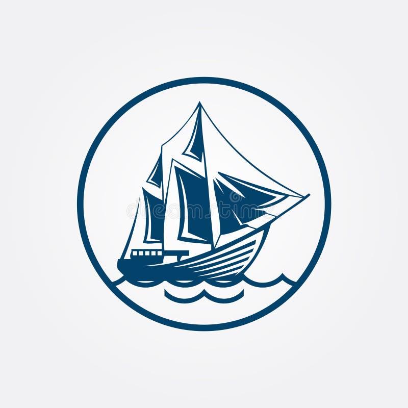帆船、风船、老帆船在充分的风帆下和旗子在帆柱 向量例证