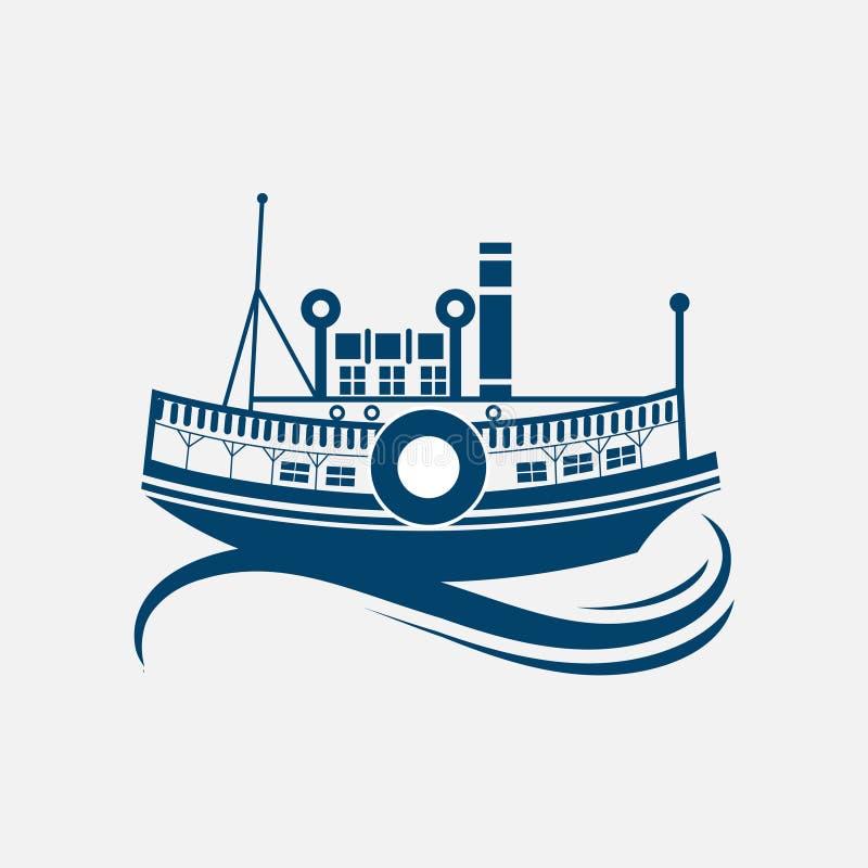 帆船、风船、老帆船在充分的风帆下和旗子在帆柱 皇族释放例证