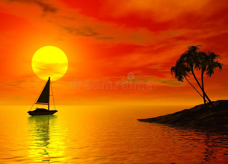 帆船与热带日落 库存图片