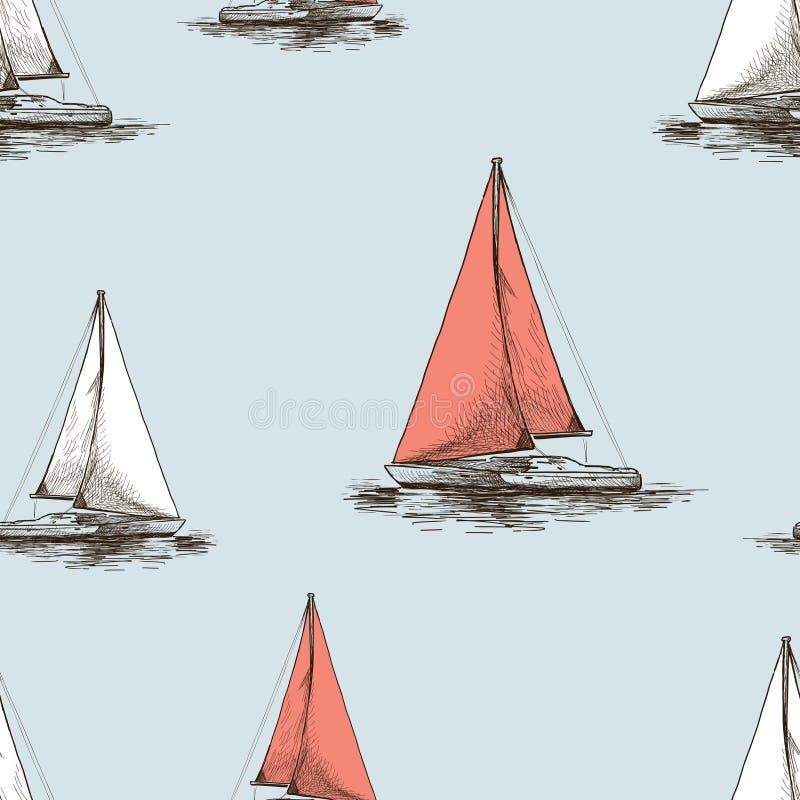 帆船剪影的无缝的样式  向量例证