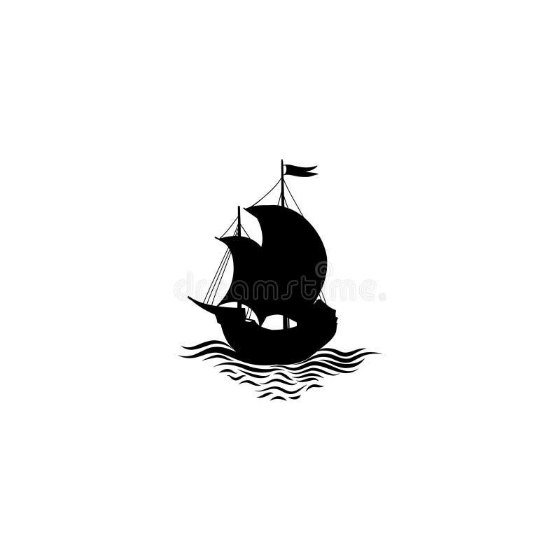 帆船剪影 减速火箭的运输象 旅行cruisedesi 库存例证