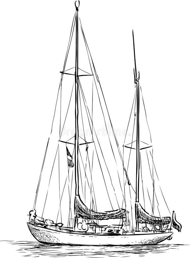 帆船剪影 库存例证