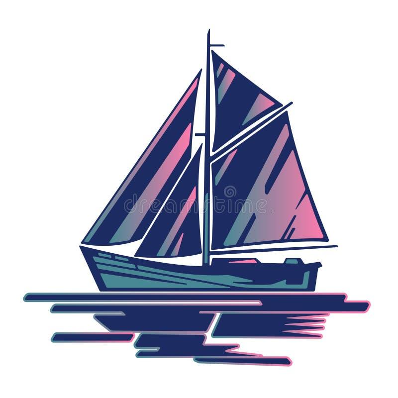 帆船商标 向量例证