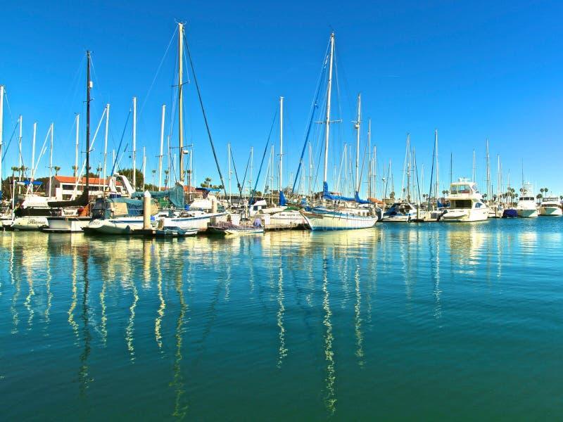 帆船在小游艇船坞 图库摄影