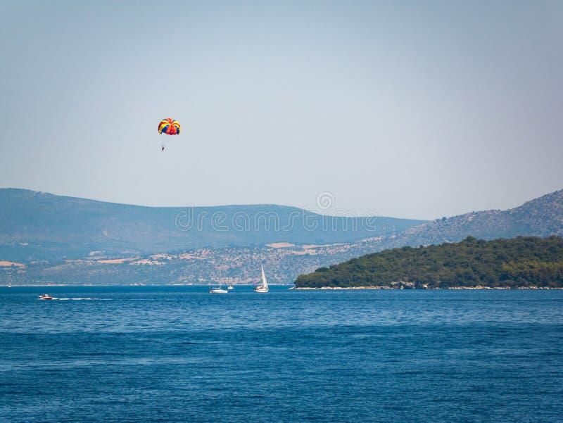 帆船在希腊海岛 库存图片