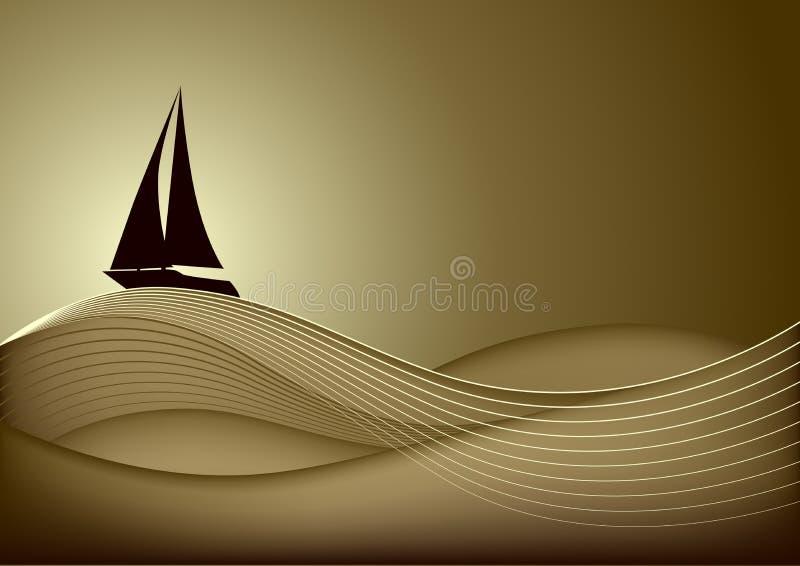 帆船在日落的海运 向量例证
