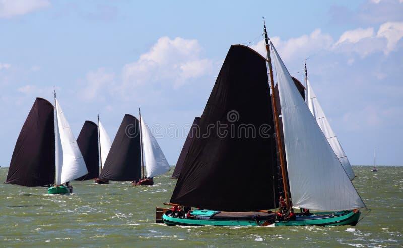 帆船在逐年竞争中 库存图片