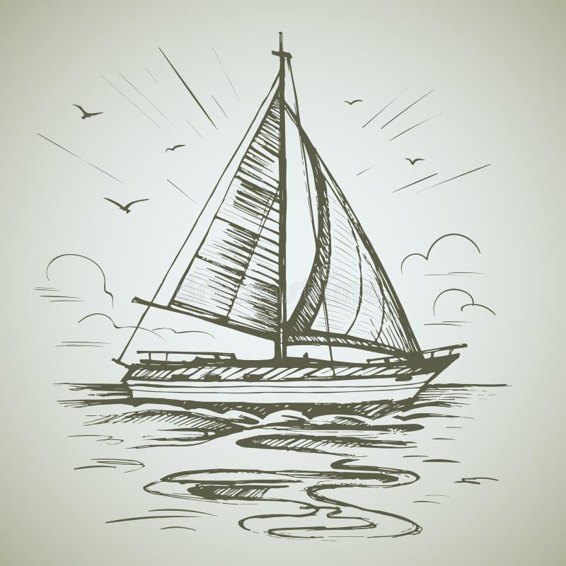 帆船场面传染媒介剪影 库存例证