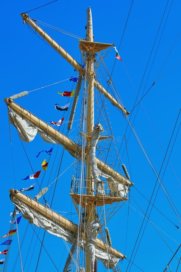 帆船的帆柱 免版税库存照片