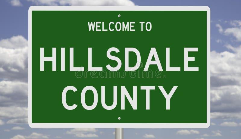 希尔斯代尔县路标 库存照片