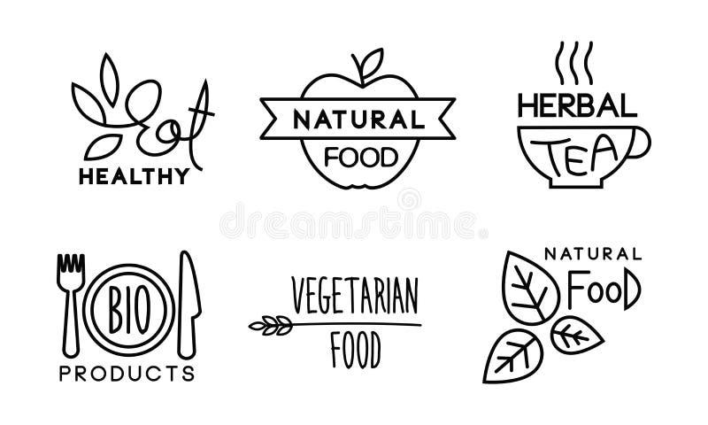 希尔迪,自然,vegetaran食物线性商标设置了,健康有机素食主义者食物标签,餐馆,咖啡馆bagges,生物 皇族释放例证