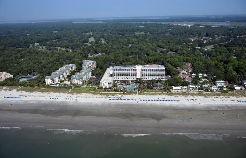 希尔顿总部海滩洋锋鸟瞰图  库存照片