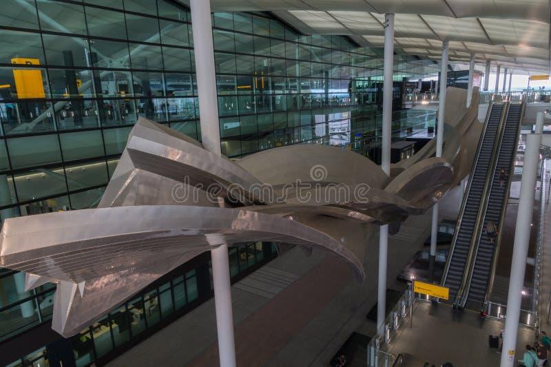 希思罗机场的终端,伦敦,英国 免版税库存照片