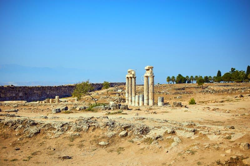 希拉波利斯古城废墟棉花堡土耳其 免版税库存图片