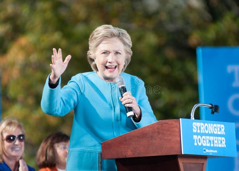 希拉里・克林顿在曼彻斯特,新罕布什尔, 2016年10月24日讲话 免版税库存图片