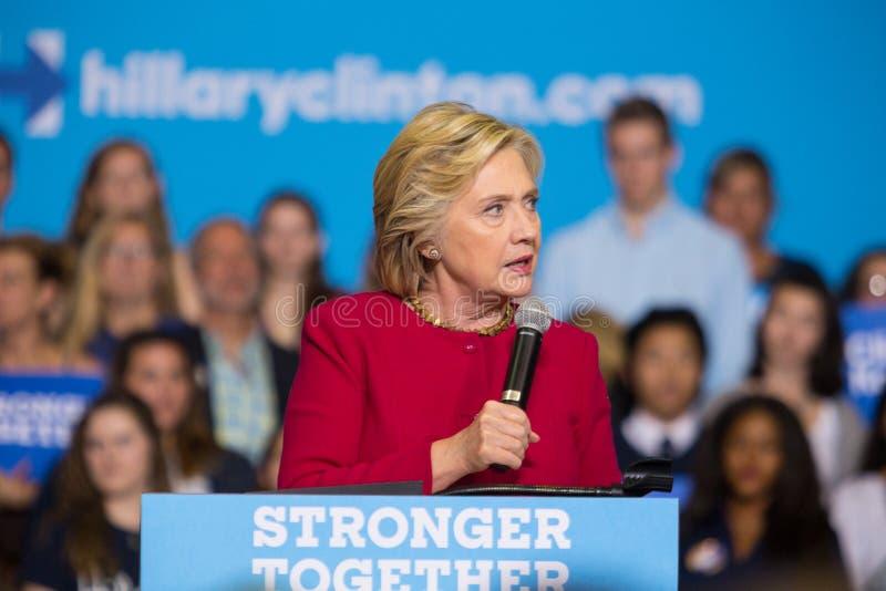 希拉里・克林顿讲话在2016政治运动集会 库存照片