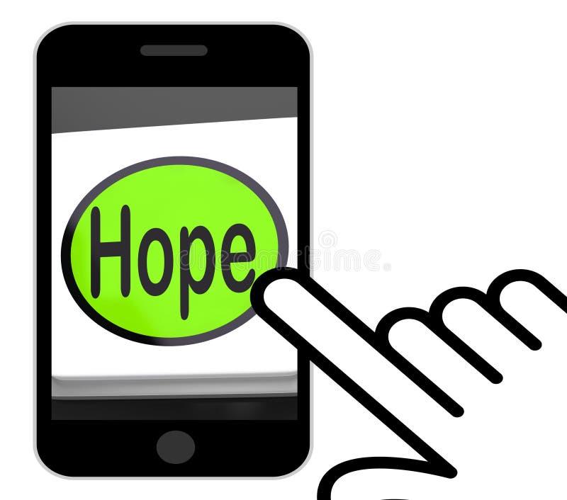 希望按钮显示希望有希望祝愿的或渴望 向量例证