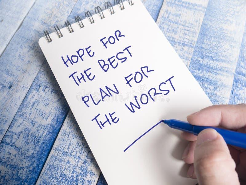 希望最好,最坏的计划,诱导激动人心的行情 免版税库存照片
