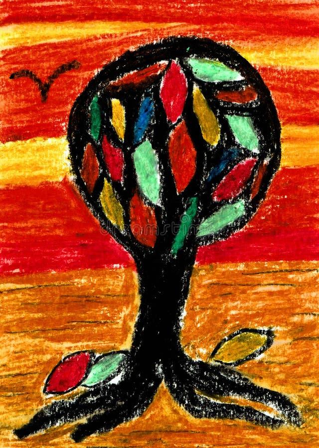 希望色的树-油蜡笔画 向量例证