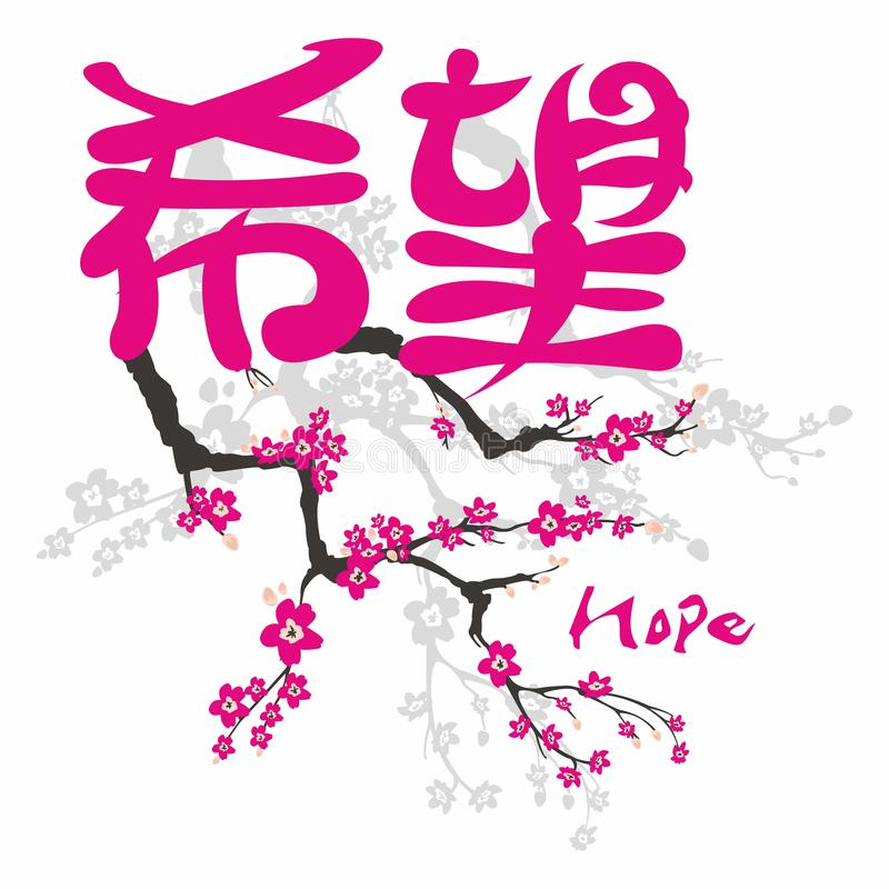 希望 在日本汉字的福音书 向量例证