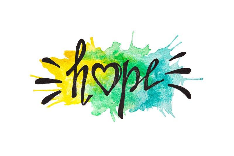 希望-在黄色和蓝色水彩绘的飞溅的书法字法 向量例证