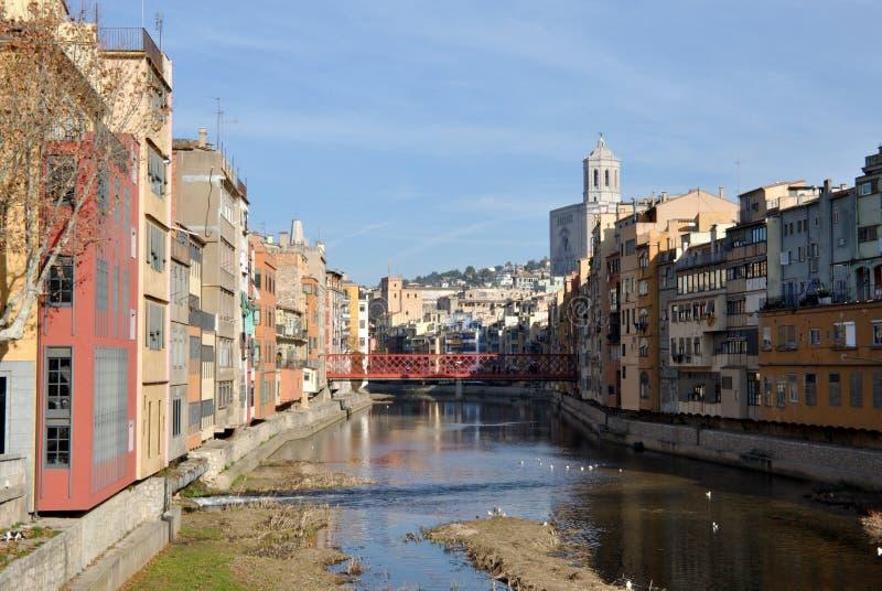 希罗纳,卡塔龙尼亚,西班牙老城镇  免版税库存图片