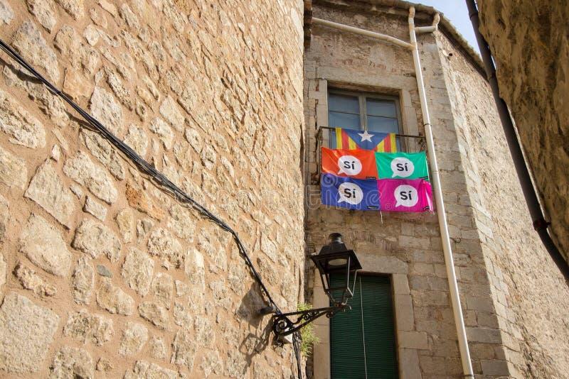 希罗纳,卡塔龙尼亚,西班牙- 2017年8月 库存照片