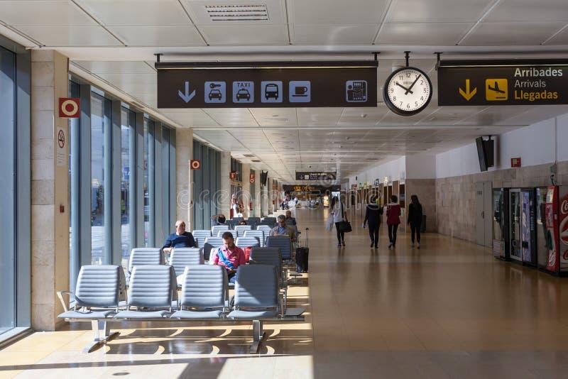 希罗纳,西班牙机场内部  免版税库存图片
