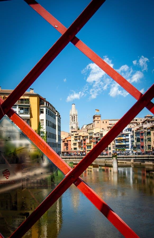 希罗纳beautifil在Cataluya 库存照片