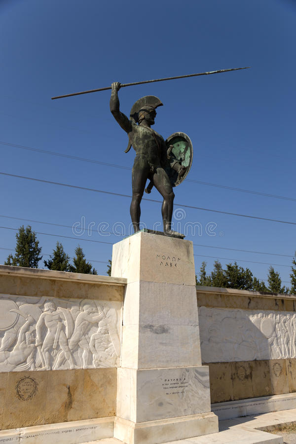 希腊。Thermopylae。对利奥尼达斯的一座纪念碑 库存照片