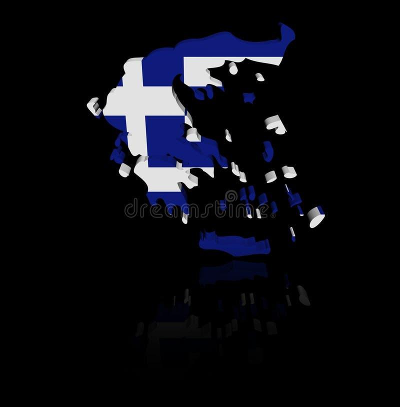 希腊与反射例证的地图旗子 库存例证