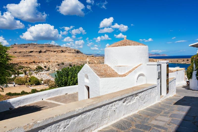 希腊东正教在Lindos罗得岛,希腊 图库摄影
