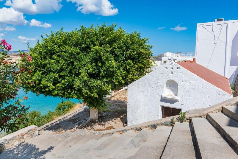 希腊东正教在Lindos罗得岛,希腊 免版税图库摄影