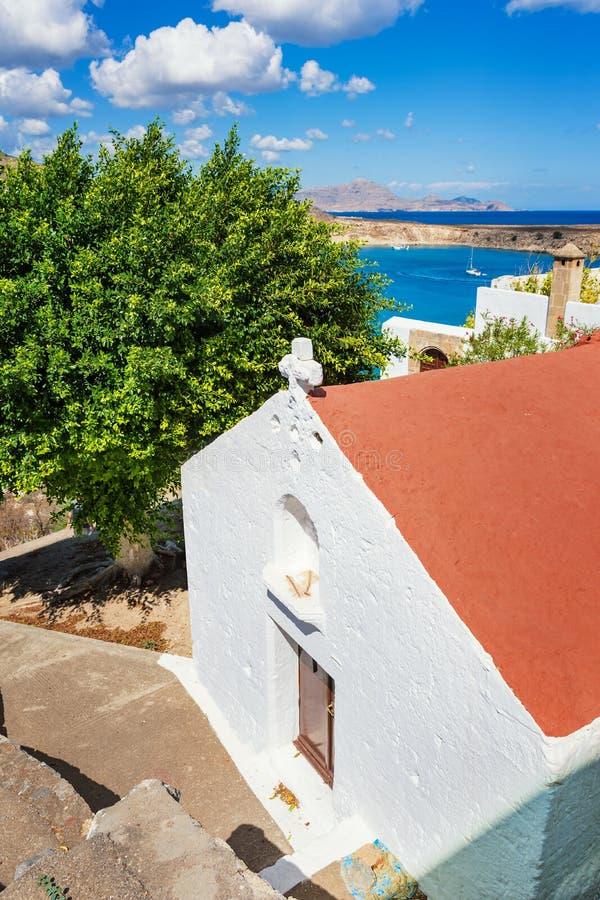 希腊东正教在Lindos罗得岛,希腊 库存照片
