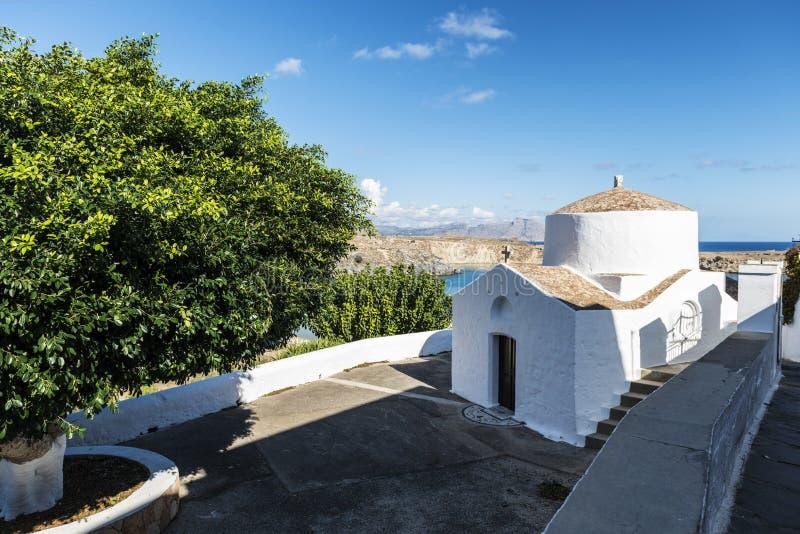 希腊东正教在Lindos,罗得岛,希腊 图库摄影