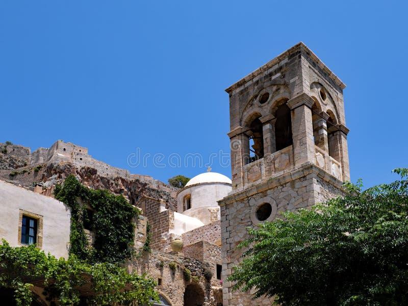 希腊东正教钟楼,莫奈姆瓦夏,希腊 免版税图库摄影