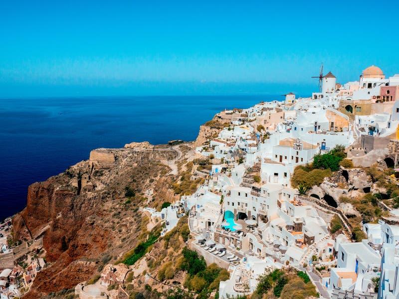 希腊人Oia村庄在圣托里尼海岛 图库摄影