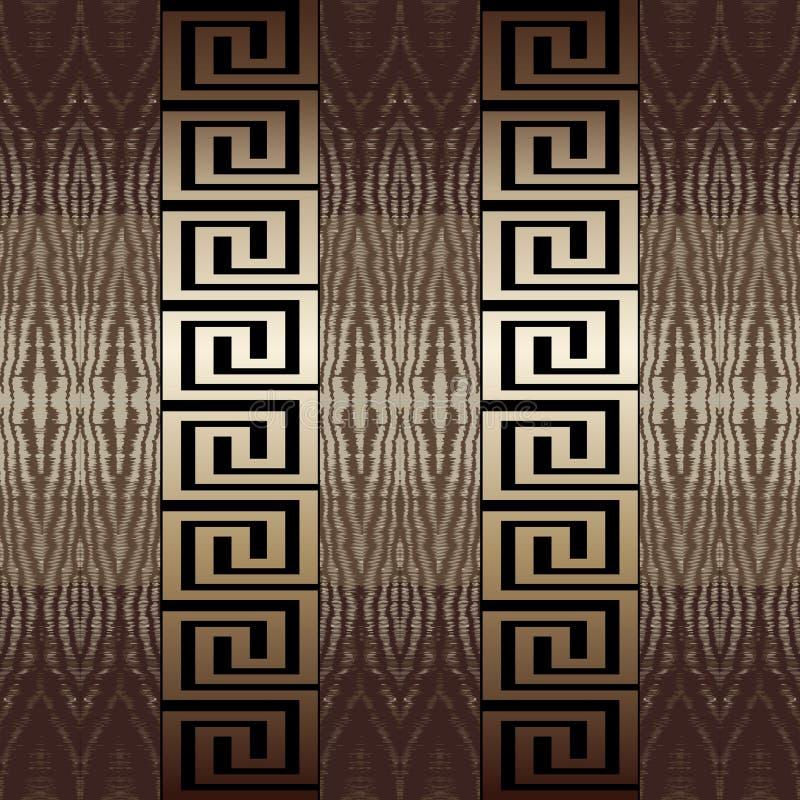 希腊传染媒介无缝的边界样式 织地不很细木样式装饰种族背景 希腊关键河曲金部族装饰品 向量例证