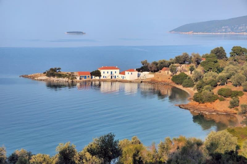 希腊传统房子的pilio 免版税库存图片
