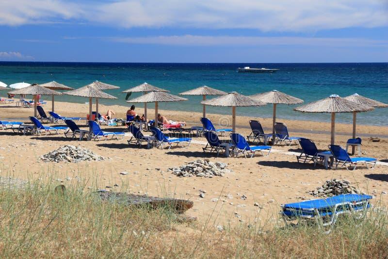 希腊假期海滩 免版税库存照片