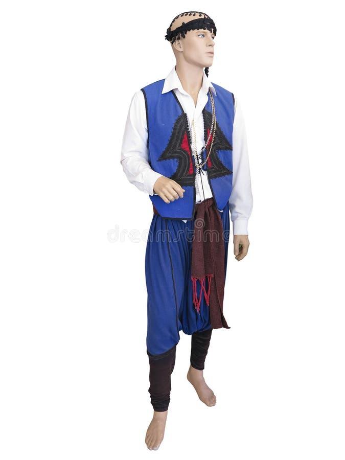 希腊克里特岛全国人给在被隔绝的时装模特的服装穿衣 库存照片
