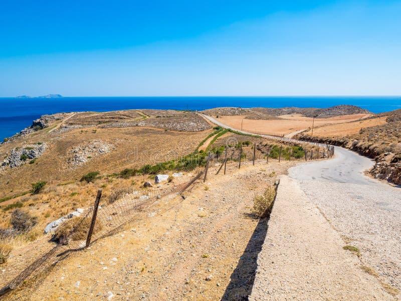 希腊克里特岛利比亚海的普雷韦利海滩路 免版税库存图片