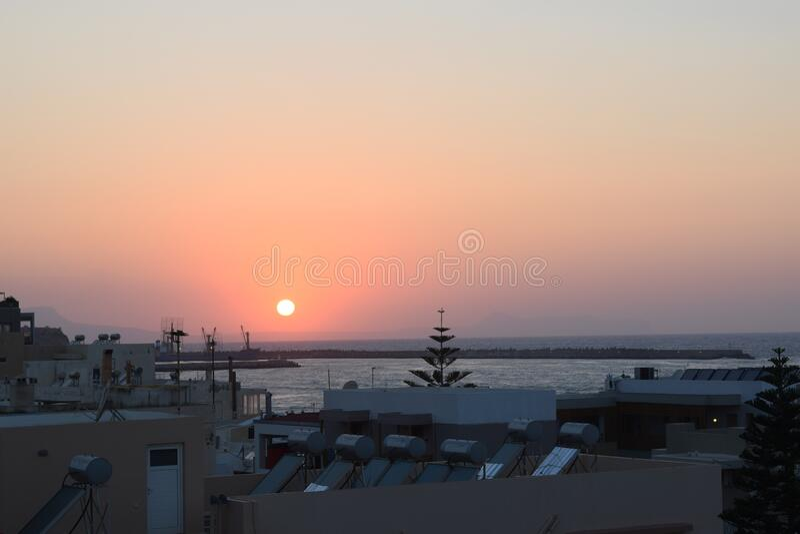 希腊克里特岛,日落 免版税库存照片