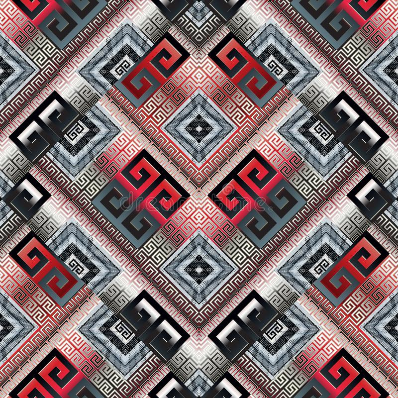 希腊关键河曲现代传染媒介无缝的样式 几何abst 库存例证
