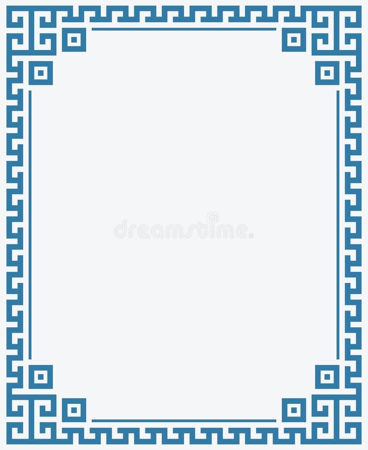 希腊关键边界框架海上色背景 库存例证